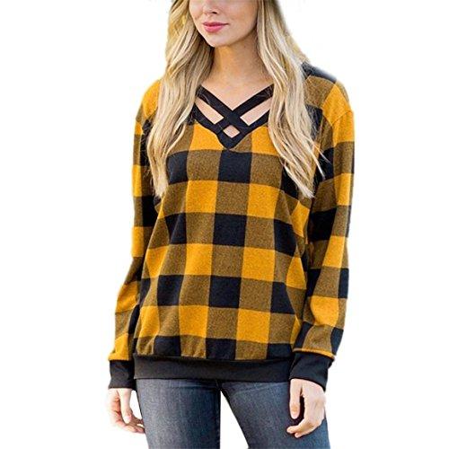 Gitter Pullover für Frauen,Moonuy Damen Mädchen lose lange Ärmel Lattice Splice Pullover Shirt Bluse,sweatshirt hoodie,Frauen Jacken,damen jumpsuit (Gelb, EU34/AsiaS)