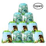 Howaf Dinosauri Modello Borsa da Coulisse Sacca da Palestra Carino Zaino Gym Sacco Backpack per Ragazze Ragazzi Bambini Regalo Compleanno Dinosauro Feste di Decorazioni - Set di 10