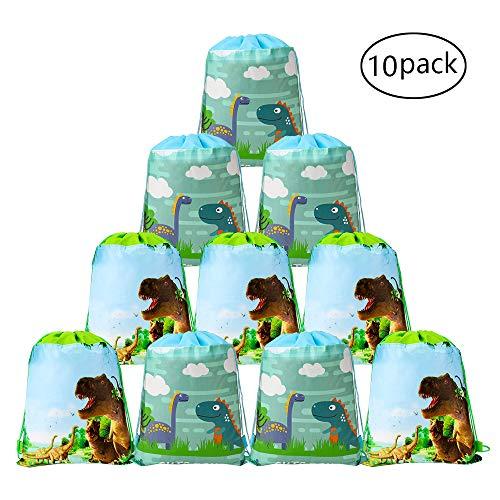 Howaf Dinosaurier Kindergeburtstag Tüten Mitgebsel Geschenktütchen Partytüten Kordelzug Rucksack Turnbeutel für Kinder Mädchen Jungen Dinosaurier Geburtstag Deko, Set von 10