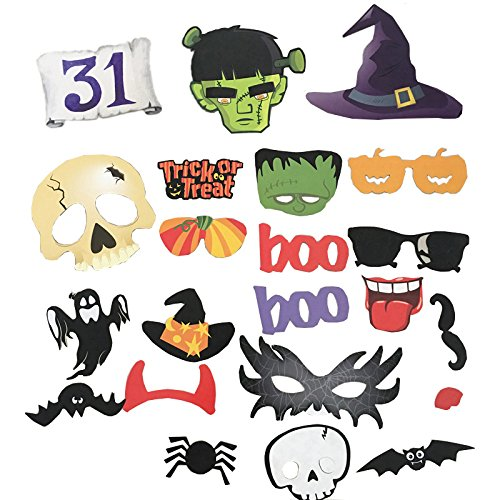 22 x dylandy Halloween Requisiten Photo Booth Props Party Funny Selfie Posing Requisiten Ostern Requisiten Kit Ghost Kürbis Hexe Hat Fledermäuse Spider Maske auf ein Stick für die Party Decor (Stick Auf Masken)