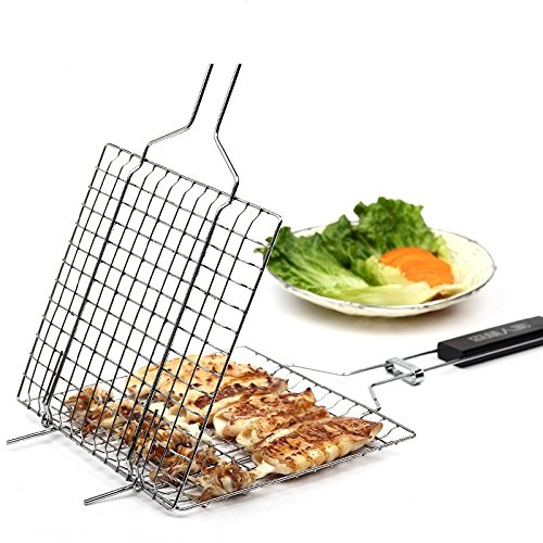 ParaCity BBQ Barbecue Grilling Basket Roast Folder Tool with Wooden Handle (1PCS)