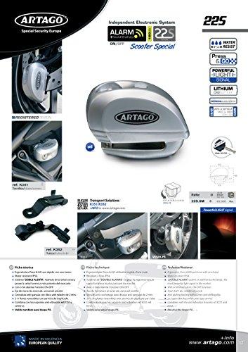 Artago 22S.6M Antirrobo Disco con Alarma + Warning Inteligente 120 Db, Metálico, ø6