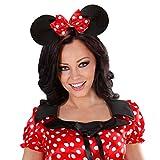 Mäuseohren Haarreif Minnie Mouse Maus Haarreifen Mäuschenohren Mauseohren mit großer Fliege Maus Ohren Kopfschmuck Kopfbügel Mäuschen Kostüm