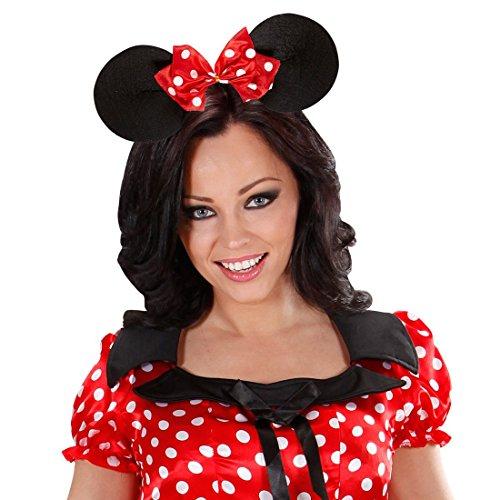 Mäuseohren Haarreif Minnie Mouse Maus Haarreifen Mäuschenohren Mauseohren mit großer Fliege Maus Ohren Kopfschmuck Kopfbügel Mäuschen Kostüm (Erwachsene Minnie Maus Ohren)