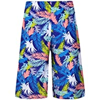 BESPORTBLE Bañador Patrón de Hoja Colorida Estampado Hombres Pantalones Cortos de Playa Ropa de Playa de Secado Rápido Deportes Corriendo Pantalones Cortos de Natación para Hombres Adultos (65-100 Kg)