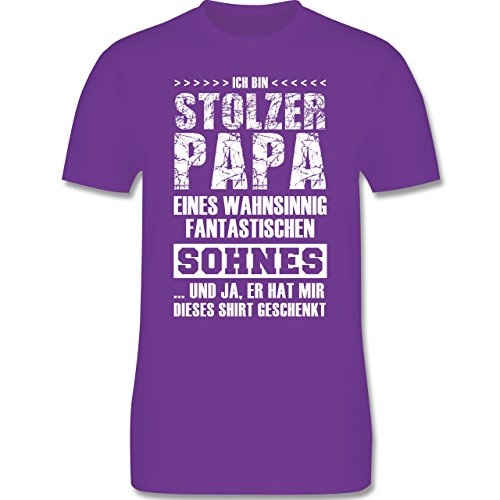 Shirtracer Vatertag - Stolzer Papa Fantastischer Sohn - Herren T-Shirt Rundhals Lila