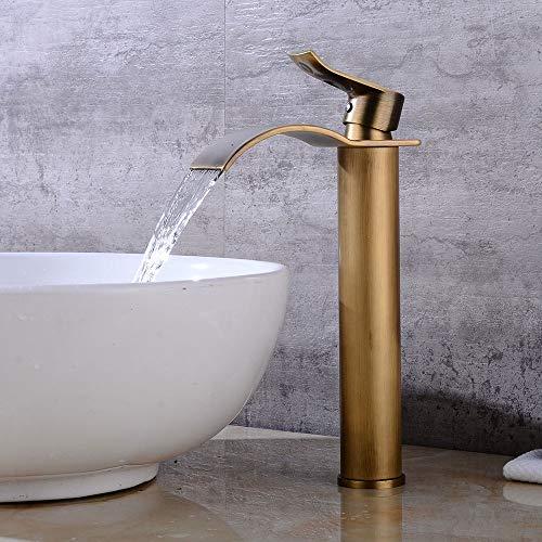 Rmckuva Waschtischarmaturen Retro Wasserfall-Effektbecken Wasserhahn Messing Badmischer Gebürstet Gebogenem Mund