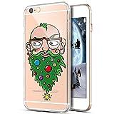 Coque iPhone 5C,Étui iPhone 5C,ikasus Noël Père flocon de neige Xmas Christmas Snowflake motif Clear Transparent Silicone Gel TPU Case Coque Housse Etui pour iPhone 5C,Barbe d'arbre de Noël