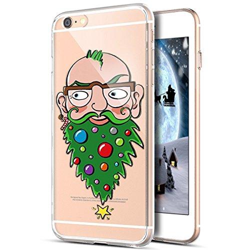 Kompatibel mit iPhone 6S Hülle,iPhone 6 Hülle,Durchsichtig mit Xmas Christmas Weihnachtsmann Weihnachten Schneeflocke Klar TPU Silikon Handyhülle Schutzhülle für iPhone 6S/6,Weihnachts Baum Bart