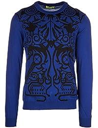 Versace Jeans jerséis de cuello redondo hombre nuevo techno baroque blu