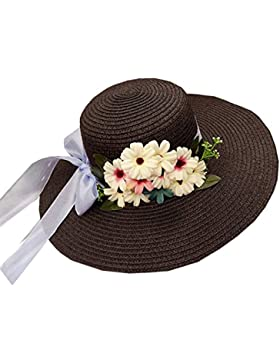 Mujer Sombrero De Paja De Flores Gorro De Playa Ala Ancha Protector Solar Para Vacación Negro