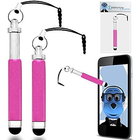 iTALKonline ROSA Premium RETRATTILE MINI Captive touch pen stilo con punta in gomma e 3,5 mm per cuffia Dangley Adattatore per Philips X830