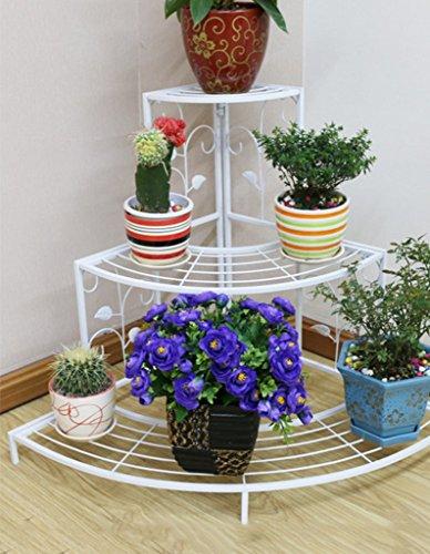 JAZS® Porte-fleurs, Fer à repasser Balcons à l'intérieur Poteaux à fleurs Échelle d'escalier à rayures 60 * 86 * 63cm protection de l'environnement raffinée ( Couleur : Blanc )