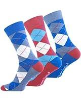 """3 oder 6 Paar Herren Trendy Casual Socken """"Multicolor - ARGYLE"""" Original von Vincent Creation®"""