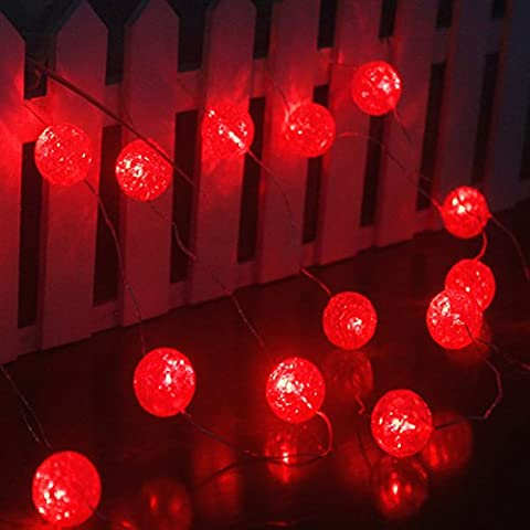 Ryham Battery Operated Crystal Ball String Lights 16 LED 7.38ft 2.25M Fairy Globe Bubble Decor Lighting for Outdoor Indoor Patio Party Curtain Bedroom Christmas Seasonal Decorations,Red