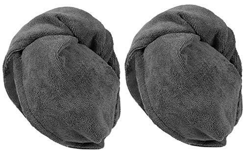 Zollner 2er Set Handtuch für Haare Haarturban aus Mikrofaser, anthrazit