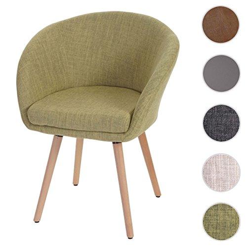 Chaise de salle à manger Malmö T633, fauteuil, design rétro des années 50 ~ tissu, vert clair