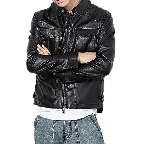 ZQQ primavera uomo grande unità di elaborazione formato da motociclista in pelle cuoio abbigliamento giacca tasca allentata giacca di grandi dimensioni , 4xl , black
