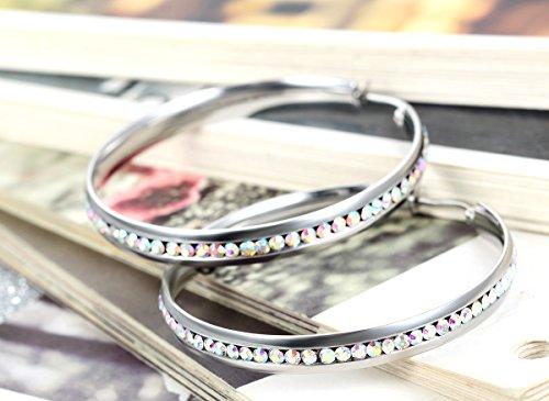 Flongo Boucle d'Oreille Acier Inoxydable Faux Diamant Rond Clou d'Oreille Couleur optionnel Fantaisie Bijoux Cadeau pour Femme Argent