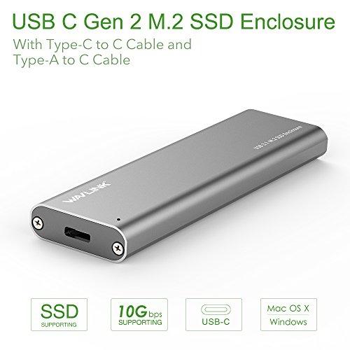 Wavlink USB C m.2 NGFF Festplatte B Schlüssel SATA SSD Gehäuse Fall – Typ C GEN 2  Aluminium Case SuperSpeed bis zu 10 Gbit/s, Enthalten Beide USB C und USB 3.0 Kabel – [kompatibel mit Thunderbolt 3] (Ein Weg, Schraube-treiber)