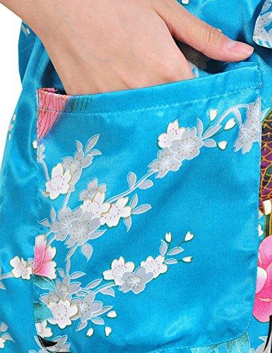 Surenow Kimono de Femme Motif Exotique Paon Fleur Kimono Satin Soyeux Peignoir Bleu