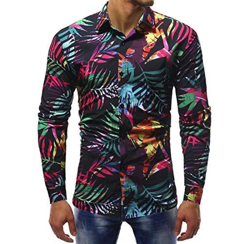 (MRULIC Herrenhemd Herbst Lange Ärmel Schmal Geschnittenes Shirt für Partyfest Formeller Anzug mit Mehreren Mustern(B-Mehrfarbig,EU-46/CN-L))