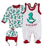 Baby Sweets Baby Set Strampler Shirt Mütze Jungen grau rot grün | Motiv: Babydino | Babyset 3 Teile für Neugeborene & Kleinkinder | Größe 3 Monate (62)...