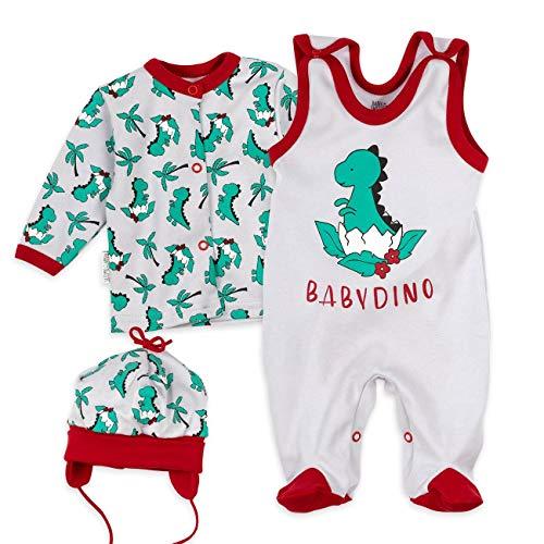 Baumwolle Kleinkind Kleidung (Baby Sweets Baby Set Strampler Shirt Mütze Jungen grau rot grün | Motiv: Babydino | Babyset 3 Teile für Neugeborene & Kleinkinder | Größe 3 Monate (62)...)