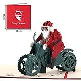 GRUßKARET Weihnachtskarte Dreidimensionale Weihnachtsgrußkarte, die Ein Motorrad fährt Weihnachten 3D Handgemachte Weihnachtskarte 10 Stück