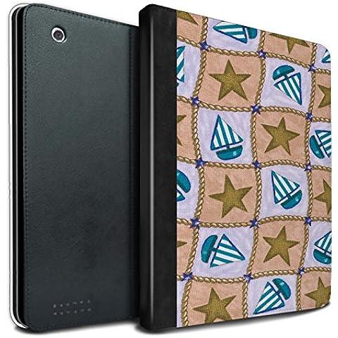 Stuff4 PU Cuero Funda/Carcasa/Folio Libro en Para el Apple iPad 2/3/4 tablet / serie: Barco/modelo de estrellas - Marrón/azul