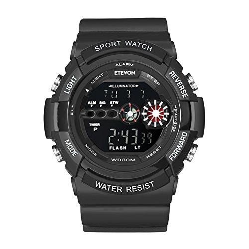 """DAGE Junge """"Batman"""" Große Gesicht Digitale Wasserdicht Uhren Elektronische LED Licht Wecker Stoppuhr, Sport Outdoor Armbanduhr für Männer - Schwarz"""