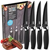 Taylors Eye Witness Brooklyn Black Serrated Steak Knife Set - 4 Pce. Corrosion Free, Easy Clean, Anti-Bacterial, Hard Ceramic Coated Blade. Chrome plated bolster. Soft Grip Handle. 2 Year Guarantee.