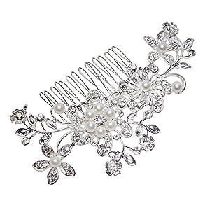RICISUNG, Damen-Haarspange zur Hochzeit, Blumen-Design, mit Strass-Steinen