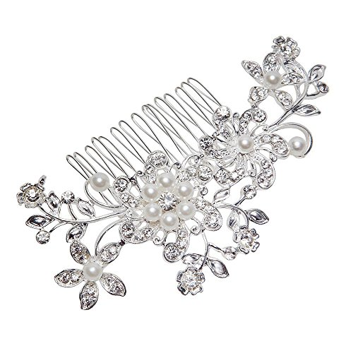 Price comparison product image Women Bridal Wedding Flower Diamante Crystal Rhinestones Pearls Hair Clip Comb