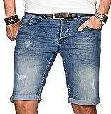 A. Salvarini Herren Designer Jeans Short Kurze Hose Slim Sommer Shorts Bermuda [AS-100-W31]