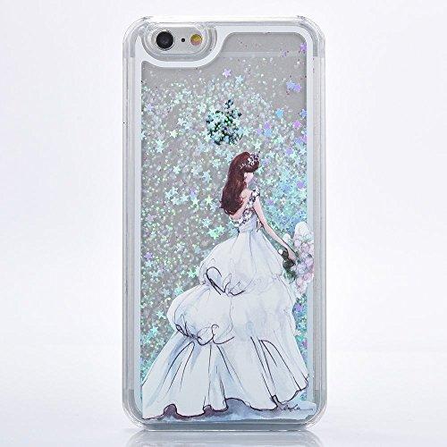 iPhone 3S, Iphone 6cas, newstars iPhone 6S/liquide 6cas, étui pour iPhone 3S/6,3d Creative Design Fluide Liquide flottant de luxe Love Hearts Bling Paillettes étoiles PC Coque rigide pour iPhone 3S/ A Blue Star: White Dress