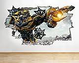 J03Transformers zerstörten Film Wand Aufkleber 3D Poster Art Aufkleber Vinyl Raum, Medium (52x30cm)