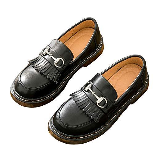 SXSHUN Mocasines Loafer para Niñas Zapatos de Cuero para Uniforme Colegio sin Cordones, Negro, 40 EU...