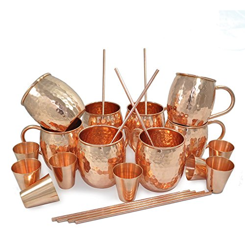Set di 8, Dungri India Solid Copper Barrel Tazza Tazza