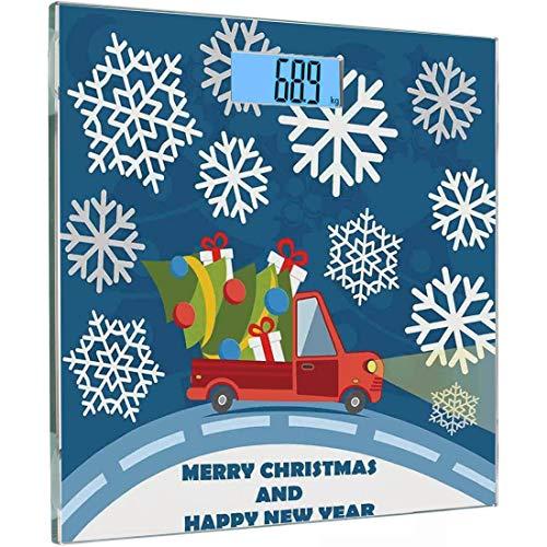 Ultra Slim Hochpräzise Sensoren Digitale Körperwaage Weihnachten Gehärtetes Glas Personenwaage, Frohes Neues Jahr Frohe Weihnachten Truck mit Geschenkboxen Baum und Schneeflocken Art, Blau Rot Pfingst (Ecke Weihnachten Baum)