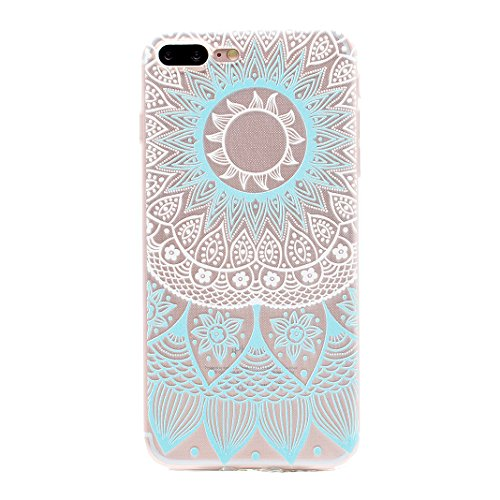Coque iPhone 7 Plus 5.5 pouces, iPhone 7 Plus Silicone Arrière Coque, Coque iPhone 7 Plus Silicone, Moon mood Plume Noir Relief Couverture pour iPhone 7 Plus Case Cover Coque de Protection TPU Silicon 2-Bleu