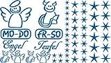 Autoaufkleber Sticker Aufkleber Set für Auto Schriftzug Engel Mo-Do Fr-So Teufe (051 enzianblau)