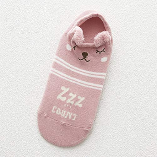 HONZIRY Otoño Transpirable Kawaii Cartoon Mujeres Calcetines de algodón cómodos Antideslizantes Zapatillas de Adolescentes Calcetines Cortos (Color: Gato Rosa para Dormir)