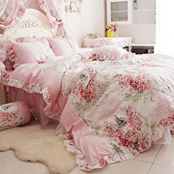 FADFAY Heimtextilien Pink Rose Bettbezug mit Blumenmuster, Bettwäsche Set für Mädchen 4-teilig, baumwolle, rose, King Size -