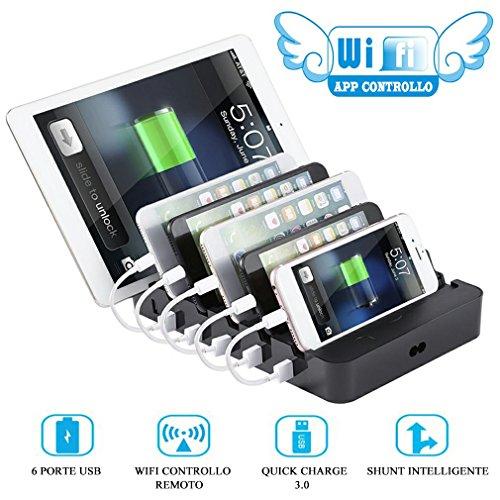 Wifi Stazione di Ricarica Smartphone 6 Porte con Controllo APP e Smart Interruttore con Timer,  Quick Charger 3.0 Usb Hub, Organizzatore di Dispositivi, Caricatore da Tavolo per Tutti i USB Dispostivi
