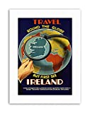 IRELAND GLOBE MAP LOOKING GLASS WORLD ISLAND Travel Canvas art Prints