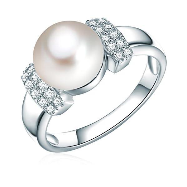 Valero Pearls Damen Perlen-Ring Sterling Silber Süßwasser-Zuchtperle