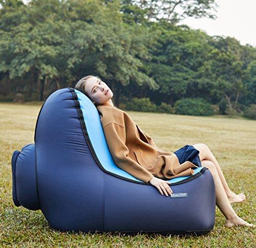 BEAUTRIP Sofa Hinchable con Bolsa, portátil Impermeable Ligero Nylon Aire sofá Inflable ocioso, Aire Cama Tumbona de Playa para Viajes, Camping, Excursionismo, Mochilero