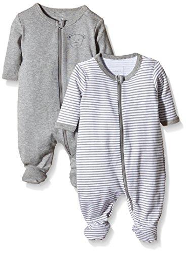 NAME IT Baby-Jungen Schlafstrampler NITNIGHTSUIT ZIP W/F NB NOOS, 2er Pack, Gr. 68, Mehrfarbig (Grey Melange)