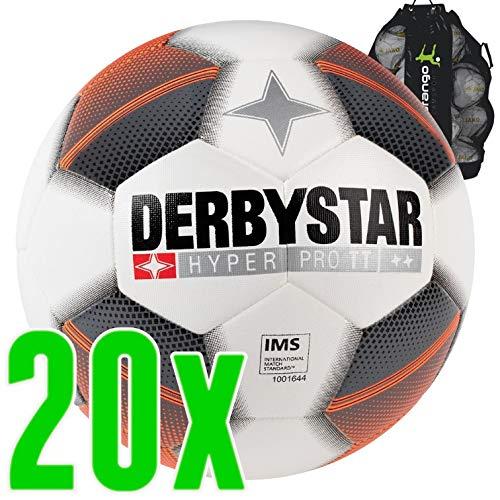 Sarango Sport Derbystar Hyper Pro TT weiß grau orange Trainingsball 20er Ballpaket inkl. Ballsack NEU, Größe:5 -